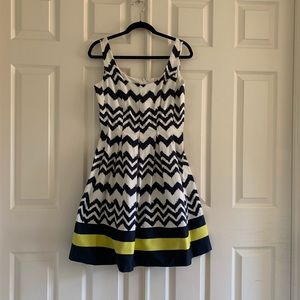 Navy chevron dress with bold bottom stripe